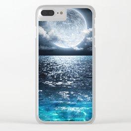 Full Moon over Ocean Clear iPhone Case