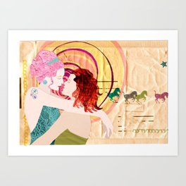 girlfriends, love, girlpower, valentines day, queer, lesbian, women, gift Art Print