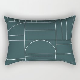 Deco Geometric 04 Teal Rectangular Pillow