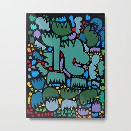 Jungle Pop Night Abstract Pattern Metal Print