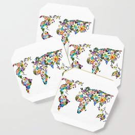 Floral World Map Coaster