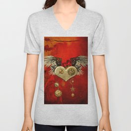 Wonderful steampunk heart with wings Unisex V-Neck