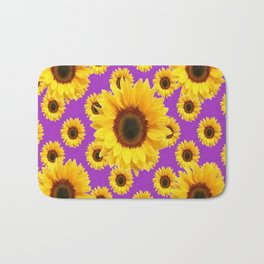 Violet Color Yellow Sunflowers Pattern Art Bath Mat