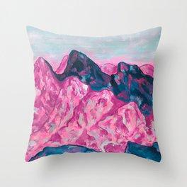 Purple Blue Mountains, Colorado 14ers, Chicago Basic Peaks, San Juan Mtn Art, Acylic Modern Impressionism  Throw Pillow