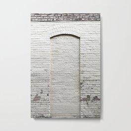 White Brick Wall Door in Wisconsin Metal Print