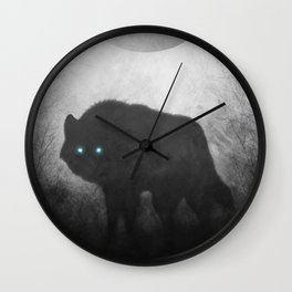 Black and White Wolf Moon Silhouette  Wall Clock