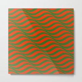 Red and Green Waves Metal Print