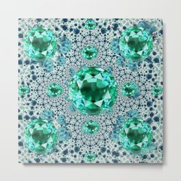 Emerald Gems May Birthstones Optical Pattern Metal Print