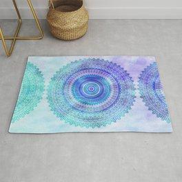 Blue Turquoise And Purple Watercolor Mandala Art Rug