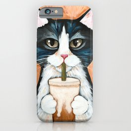 Iced Coffee Tuxedo Cat iPhone Case