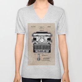 patent art typewriter Unisex V-Neck