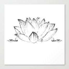 Lotus's Flower drawn, vectorised, grung texture, spiritual Canvas Print