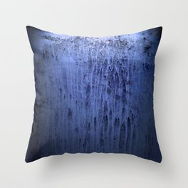Old blue window at night Throw Pillow