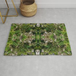 Plant covered Rock Face Pattern Rug