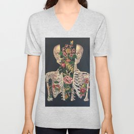 Skeleton of flowers Unisex V-Neck