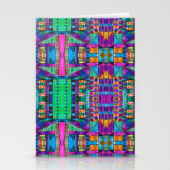 Tribal Patchwork II Pink Stationery Cards