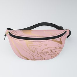 Liquid marble texture design, pink and gold Fanny Pack