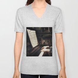 Music. The piano lesson. Unisex V-Neck