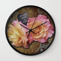 all you need is love Wall Clocks featuring All You Need is Love by Joke Vermeer