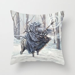 Wizard Riding an Elk in the Snow Throw Pillow