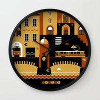 prague Wall Clocks featuring Prague by koivo