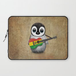 Baby Penguin Playing Bolivian Flag Acoustic Guitar Laptop Sleeve