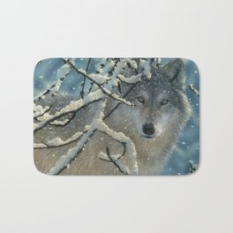 Wolf in Snow - Broken Silence Bath Mat