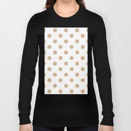 Polka Dots - Tan Brown on White Long Sleeve T-shirt