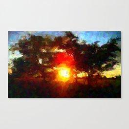 Sun Between Trees Canvas Print