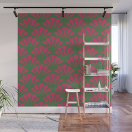 Kelly Green and Fuchsia Deco Fan Wall Mural