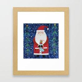 Santa with Stocking Framed Art Print