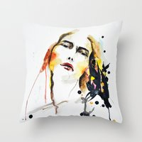 grateful dead Throw Pillows featuring Grateful by Mitra Art