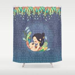 Motherly Love batik Shower Curtain