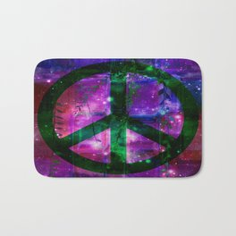 Peace symbol and infused colors Bath Mat