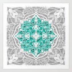 Oriental Nights Aqua Green Art Print