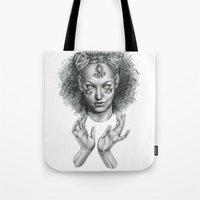 scary Tote Bags featuring Scary by Taylor Bryn Illustration