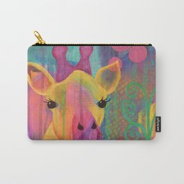 Whimsical Abstract Giraffe in Jewel Tone Colors Aqua Pink Purple Blue Yellow Carry-All Pouch