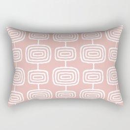 Mid Century Modern Atomic Rings Pattern Dusty Rose Rectangular Pillow