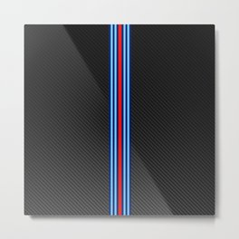 Carbon Racing Stripes Metal Print