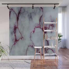 White with Maroon Marbling Wall Mural