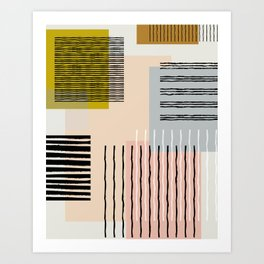 Abstract Funky Geometric Print with Organic Shapes and Stripes Art Print