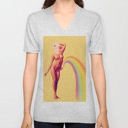 Unicorn Rainbows 1 - Erotic Collage Art Unisex V-Neck