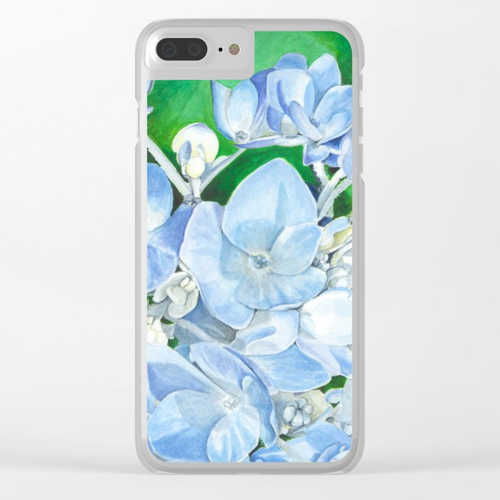 Watercolor Hydrangea Blossoms Clear iPhone Case