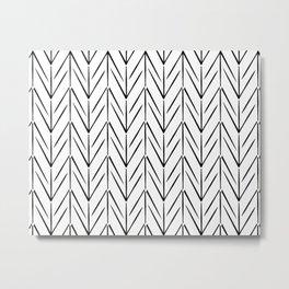 Simple chicken footprint lines pattern white and black Metal Print
