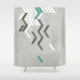 Deconstructed Chevron B – Gray / Teal Abstract Pattern Shower Curtain