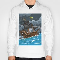 pirate ship Hoodies featuring Pirate Ship in Stormy Ocean by Nick's Emporium Gallery