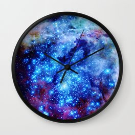 galaxy blue sparkle Wall Clock
