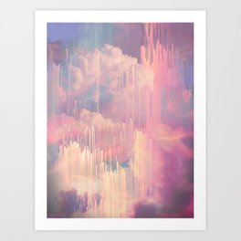 Candy Glitched Sky Art Print