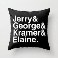seinfeld Throw Pillows featuring Seinfeld Jetset by Bill Pyle