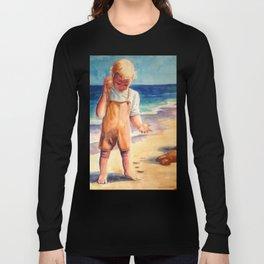 Watercolor Boy with Seashell Long Sleeve T-shirt